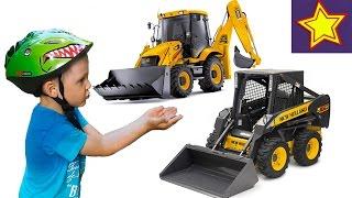 Про погрузчик и желтый трактор - экскаватор. Видео для детей Kids video tractors(Привет, ребята! В этой серии Игорюша встречает на пути желтый трактор с задним ковшом и желтый погрузчик...., 2016-06-20T06:48:03.000Z)