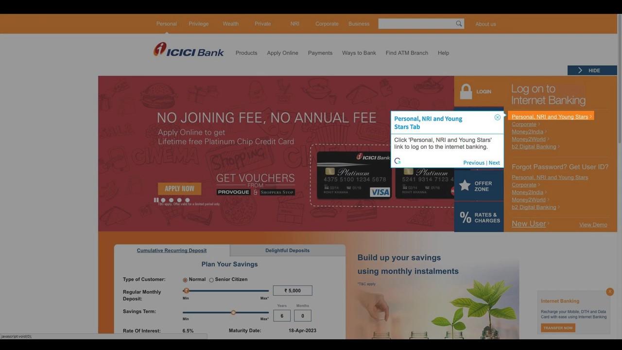 www icicibank com internet banking bank account