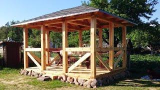 видео Как построить беседку из дерева для дачи своими руками: технология строительства, изготовление, монтаж - как сделать для дачной деревянной беседки фундамент, пол, крышу (фото, советы, инструкции, рекомендации)