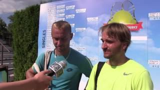 Roman Jebavý a David Novák po finále deblu na turnaji Futures v Pardubicích