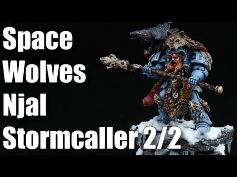 How to paint Space Wolves Njal Stormcaller? Warhammer 40k painting airbrush tutorial 2/2