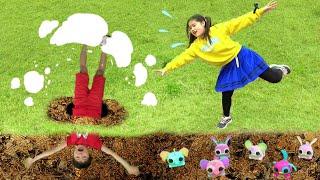 おにぎり ころころロリペッツ?? 穴に落ちた! おゆうぎ こうくんねみちゃん Lollipets Fell into a hole Pretend play