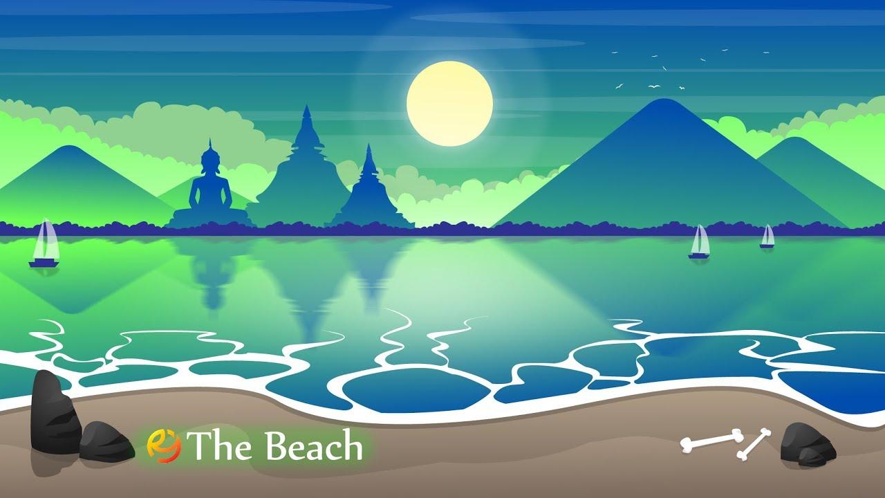 the beach landscape illustration in adobe illustrator