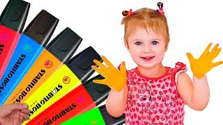 Faina Pretends to Play with her Magic Pens - Preschool toddler learn color