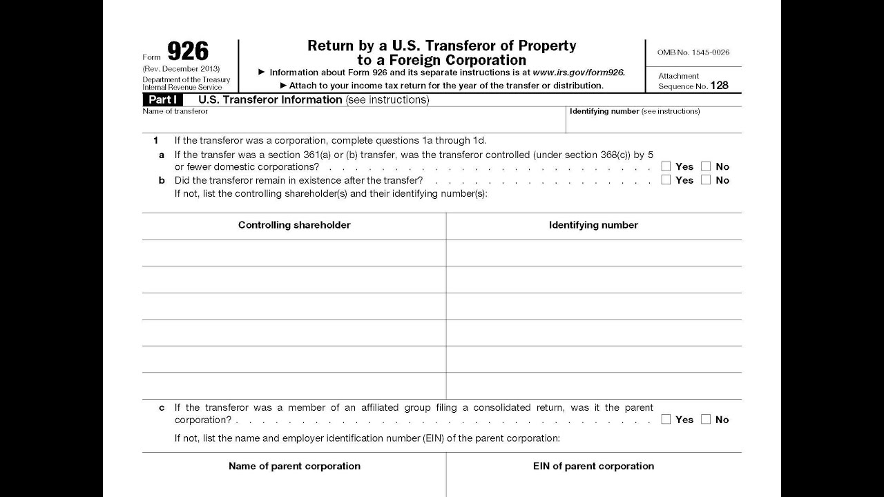 Irs form 926 filing requirement for u s transferors of irs form 926 filing requirement for u s transferors of property to foreign corporations falaconquin