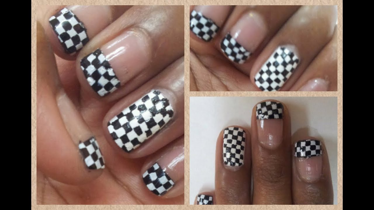 chessboard checkered nail art
