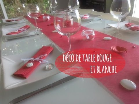 D co de table rouge et blanche youtube - Deco table blanc ...