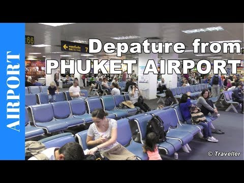Inside Phuket Airport – Departure from Phuket Airport – check-in to plane boarding – Thailand