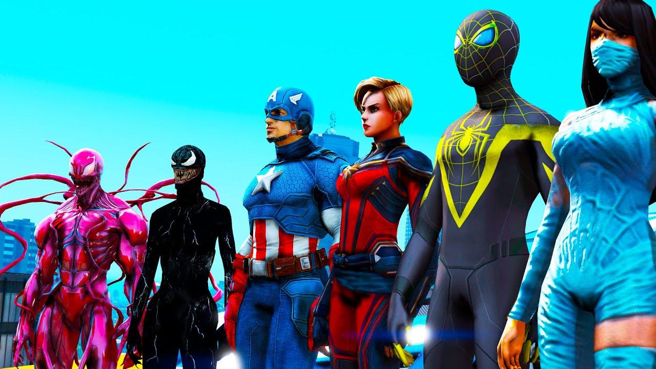 HOMEM ARANHA E AMIGOS SALTO COM CARROS! Spiderman Stunt Cars Challenge - Grand Theft Auto V