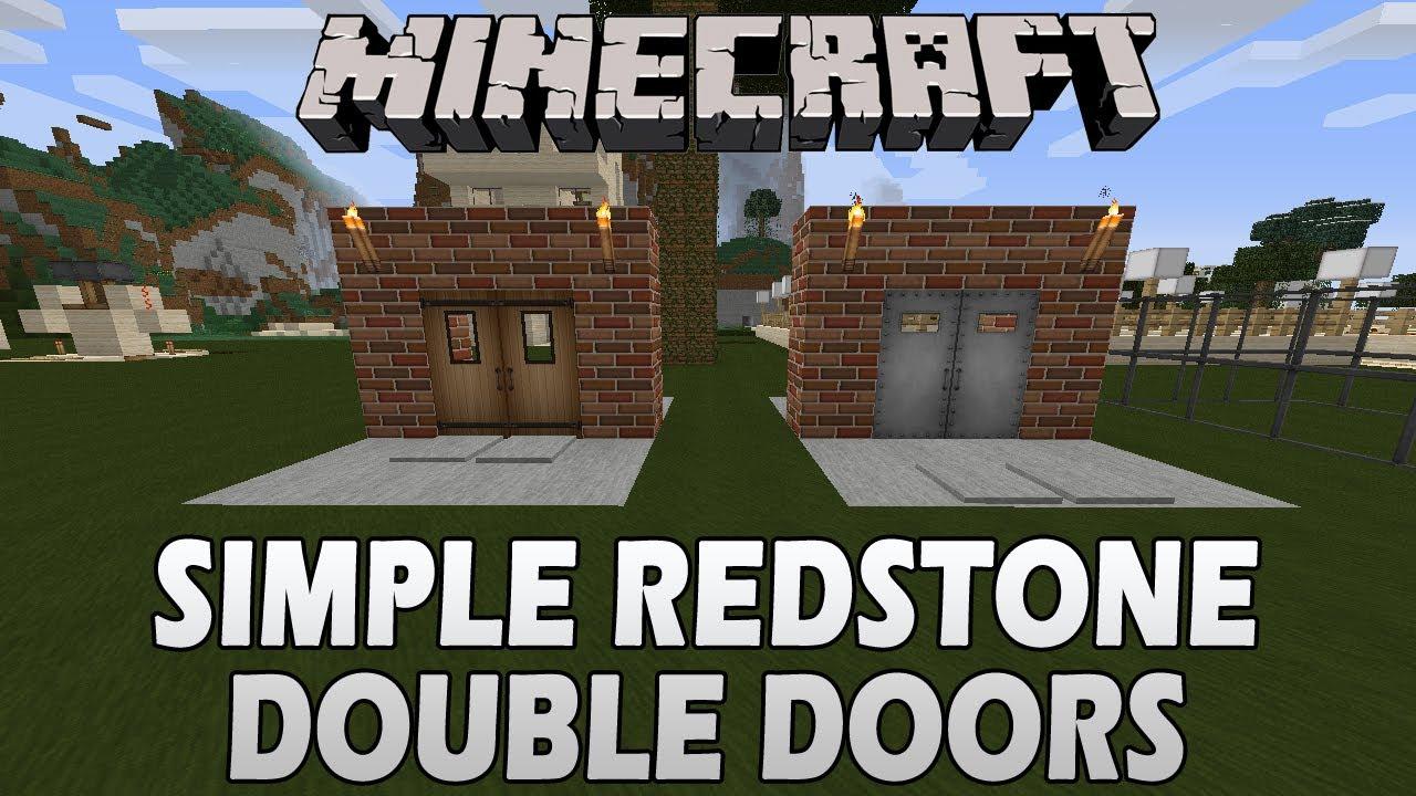 Minecraft Tutorial Simple Redstone Double Doors Youtube