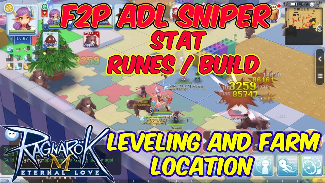 F2P ADL Sniper Latest Stat / Build and Leveling farm location | Ragnarok  Mobile Eternal Love