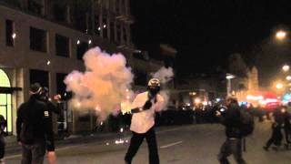 Occupy Oakland - Black Bloc Instigates Riot Police - War Zone Erupts