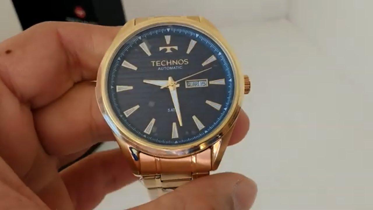 62b7bc9bdacae Relógio Masculino Technos 8205NX 4A Automático Dourado - YouTube