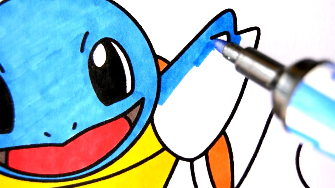 como desenhar e colorir squirtle pokemon pintar e aprender para