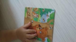 Мишка собирает пазлы животные / Puzzles with animals