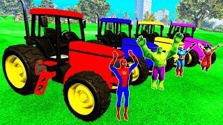 L'apprentissage des Couleurs des Voitures de w Tracteurs Spiderman dessin animé Pour les Enfants w super-héros de Mission À la FERME