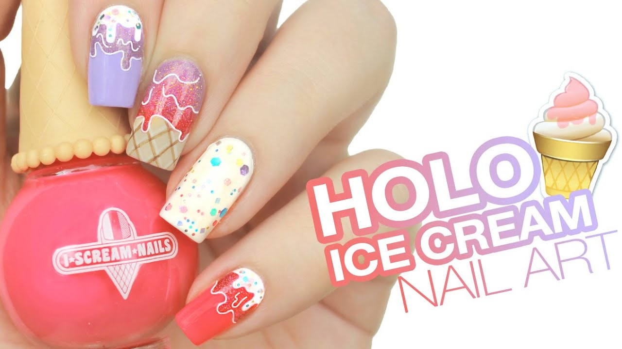 Holographic Ice Cream Drip Nail Art | Live Love Polish - YouTube