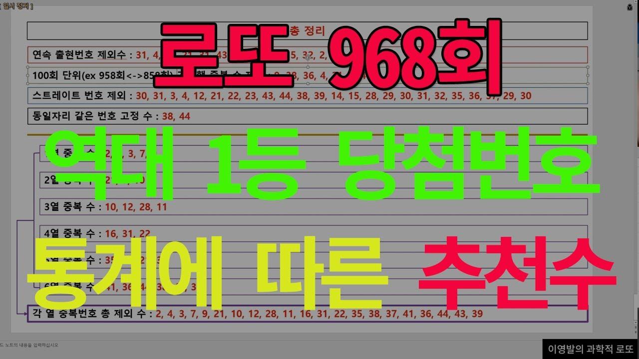 로또 968회 역대 1등 당첨번호 통계에 따른 추천 수