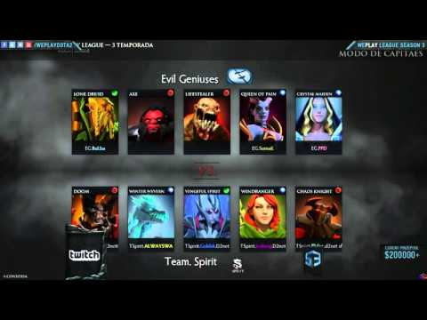 Team Spirit vs Evil Geniuses  game 1 Fase final Weplay @SangueV