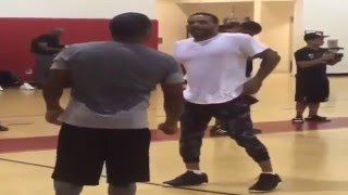 floyd mayweather jim jones talking trash to each other while playing basketball