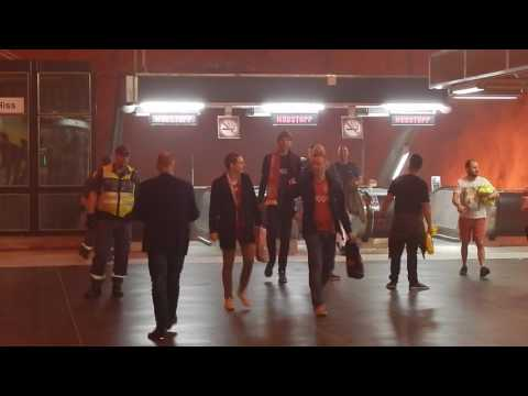 Ajax fans storm Stockholm underground