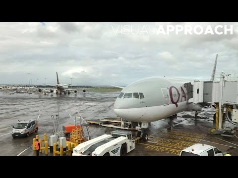 World's longest flight: Qatar Airways Boeing B777-200LR takeoff from Auckland
