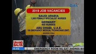 UB: Saudi Arabia, Germany at Abu Dhabi, nangangailangan ng mga medical professional
