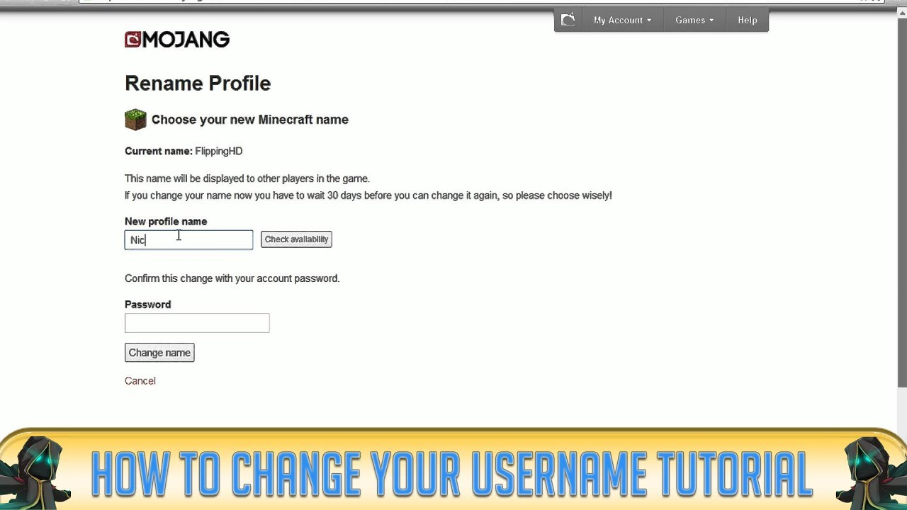 Minecraft How To Change Your Username YouTube - Mojang net minecraft namen andern