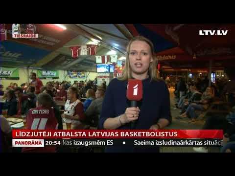 Līdzjutēji atbalsta Latvijas basketbolistus