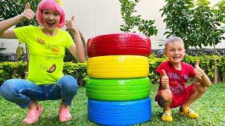Alex dan Nastya bermain dengan ban multi-warna dan belajar warna | Lagu Anak Anak Video Edukasi
