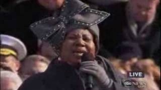 Aretha Franklin sings My Country Tis Of Thee  -  Inauguration Of Barack Obama, before Obama Speech