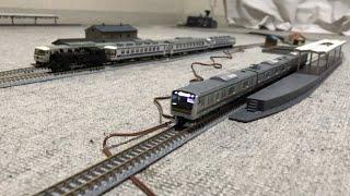 JR3両編成E233 3000系(増備型)とC11蒸気機関車+ユーロライナーが走行!ポイントが切り替わって3両編成185系が発車!【Nゲージ、令和2年4月1日水曜日】