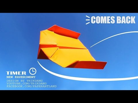 BEST PAPER BOOMERANG for KIDS - How to make a Paper Airplane that COMES BACK | Timer