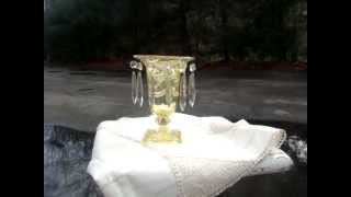 Mov04197.mpg  Vtg Amber Cut Glass Crystal Candle Holder With 12pcs Clear Prisms