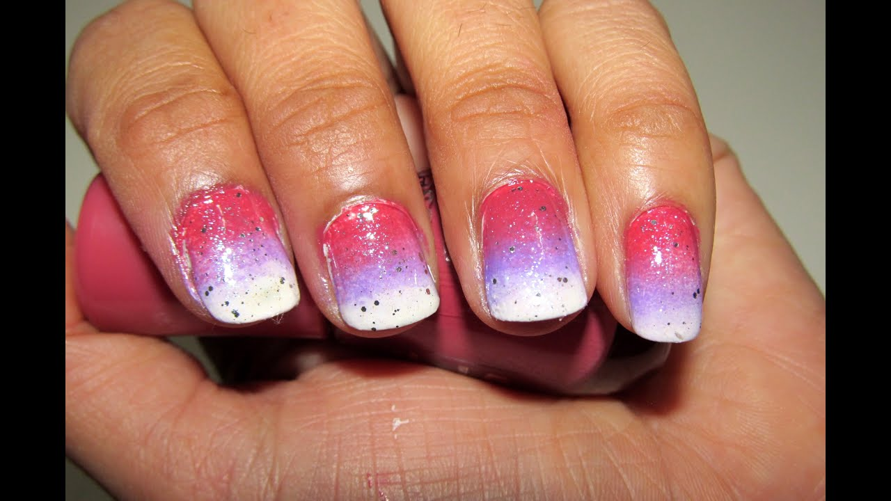 Easy Ombre Nail Art, Degrade nail art,How to do gradient nails with ...