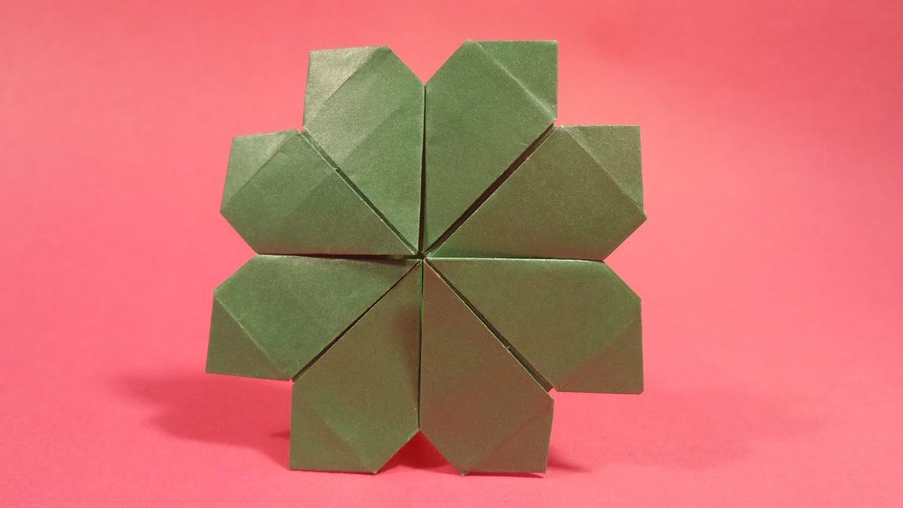 네잎 클로버 색종이 접기 - Origami Confetti Four Leaf Clover - YouTube - photo#23