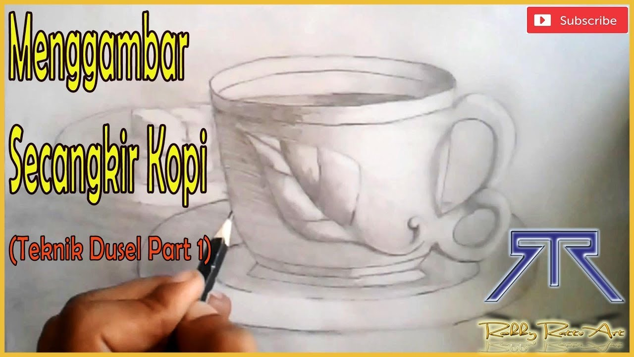 """How To Draw A Cup Of """"3D"""" Coffee With """"Dusel"""" Technique"""