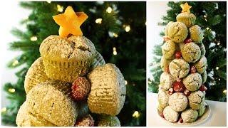 Matcha (green Tea) Muffin Christmas Tree | 抹茶マフィンのクリスマスツリー