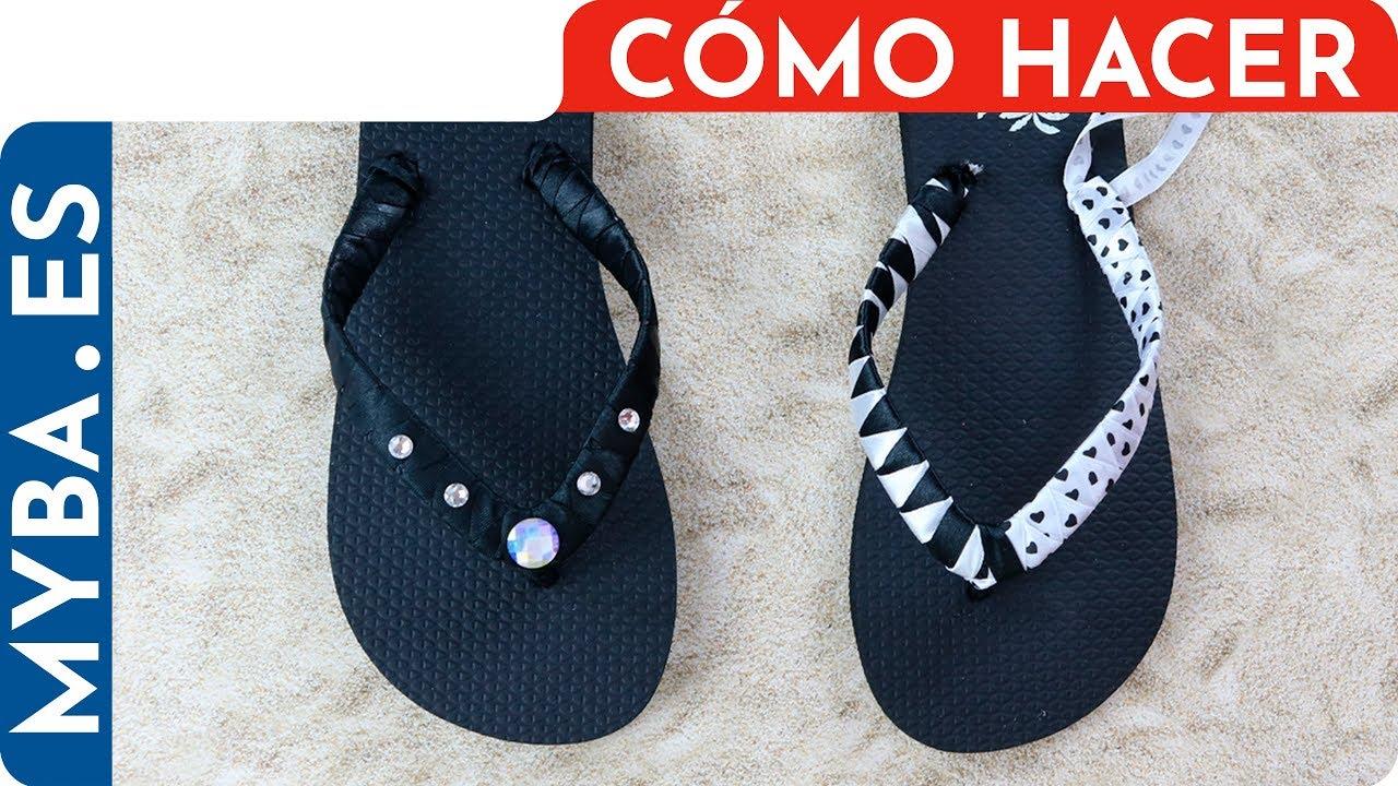 58b95c276 Decora tus chanclas o sandalias con cintas y adornos. DIY muy fácil y  barato. Para regalar o vender.