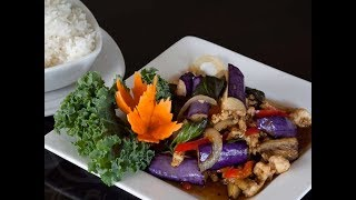 Thai Stir Fry Eggplant With Holy Basil Recipe - Aubergine Wok Video