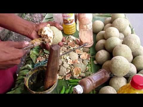 Indian Street Food Kolkata - Bengali Street Food India - Tasty Masala Bel (Wood Apple)