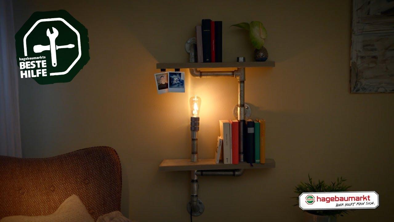 "regal mit lampe selber bauen - diy anleitung ""designer-rohrregal"