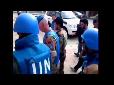 Raw Video: UN Team Visit Central City of Homs