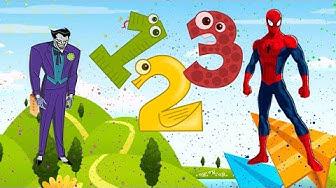 Zahlen lernen Joker & Spiderman für Kinder