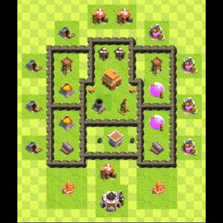clash of clans dicascomo montar seu layout cv 4 - Layout Cv 4 Guerra