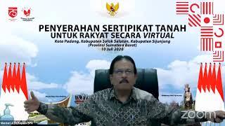 Penyerahan Sertipikat Secara Virtual Provinsi Sumatera Barat 10 Juli 2020