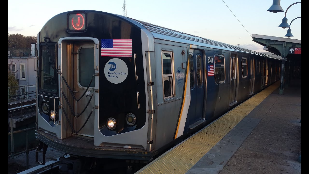 MTA NYC Subway: R160 (J) Train w/ Cuomo Wrapped Set Action