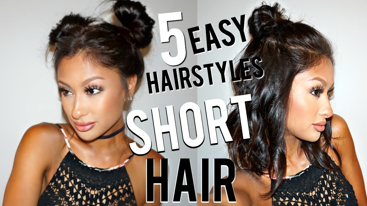 Cute Hair Styles For Medium Hair: 5 EASY Hairstyles For SHORT Hair!!!