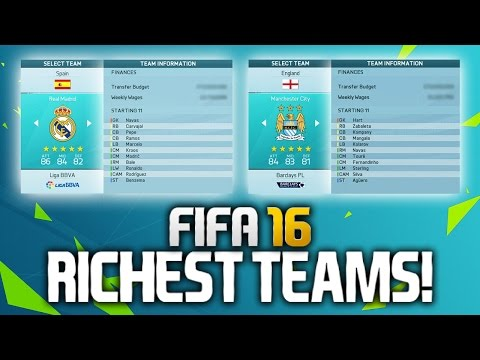 FIFA 16: THE RICHEST TEAMS ON CAREER MODE! (BIGGEST TRANSFER BUDGETS)