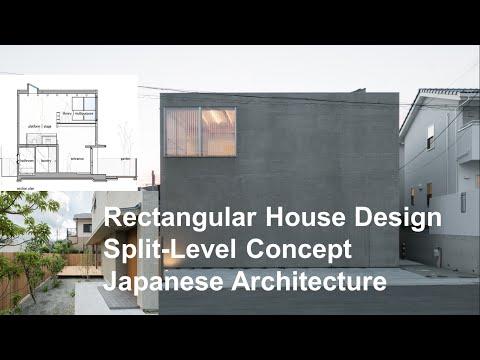 Rectangular House Design Split Level Concept Japanese Architecture